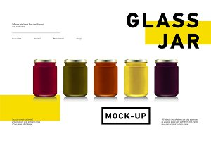 Glass jars vector mockup