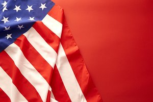 American flag on red background