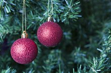 Christmas decoration - two red balls
