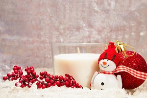 Christmas composition - white candle