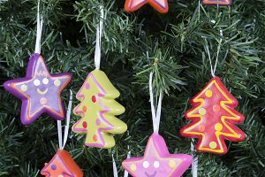 Christmas tree ornaments-trees/stars