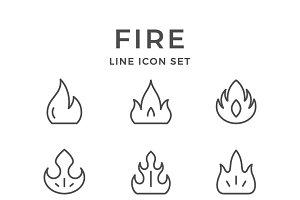 Set line icons of fire