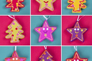 Christmas tree ornaments collage