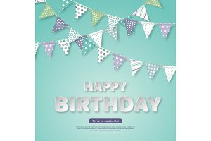 Happy birthday greeting design. Paper cut style white letters and bunting flags with different colorful patterns. Light green background, vector illustration.