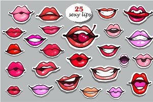 Lips fashion patch badges