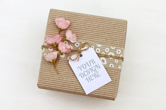 Gift Box With Empty Tag Mockup