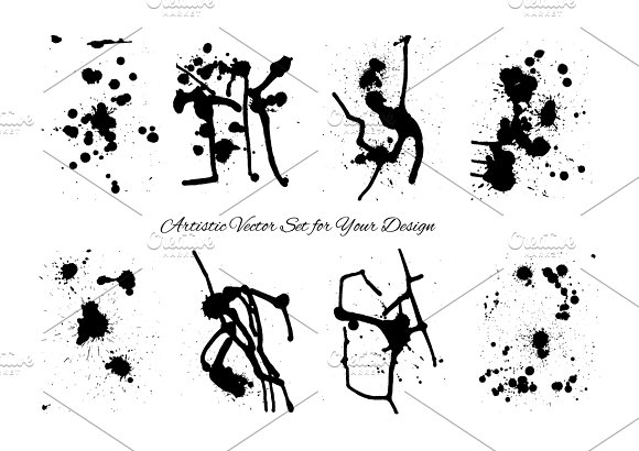 Artistic grunge stains vector set