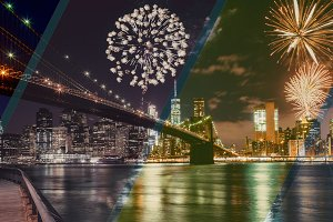 Fireworks over Manhattan, New York