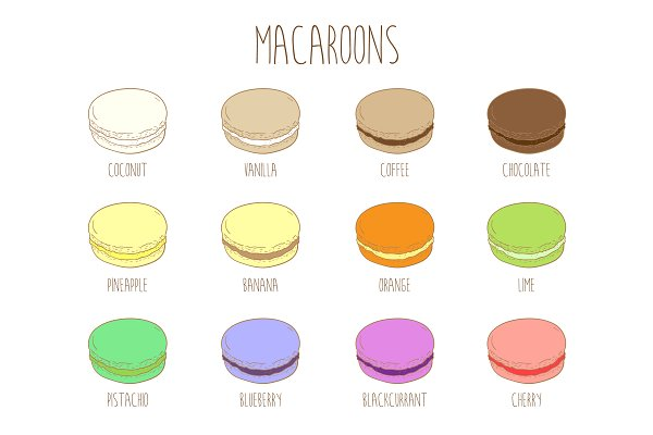 Macaroons with different flavors.