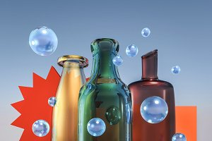 3d creative glass world composition with color bottles and blue bubbles