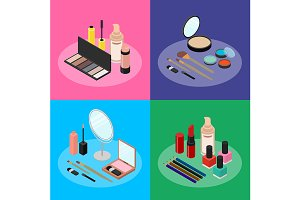 Cosmetic Products Banner Card Set