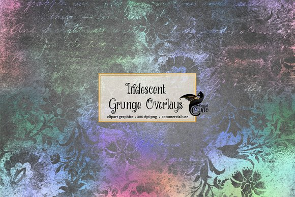 Iridescent Rainbow Grunge Overlays