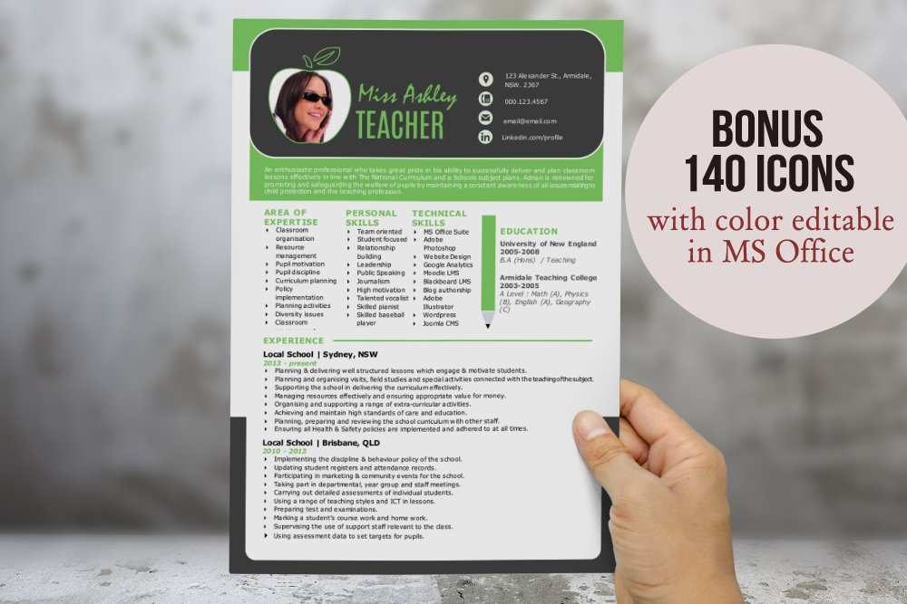 3 in 1 modern Word teacher resume ~ Resume Templates ~ Creative Market