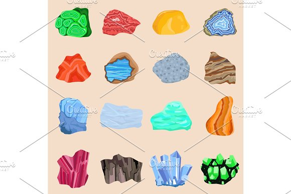 Collection Set Of Semi Precious Gemstones Stones And Mineral Stone Isolated Colorful Shiny Gemstone Mineral Jewelry Material Agate Mineral Geology Nature Crystal