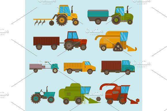 Different Types Vector Agricultural Vehicles And Harvester Machine Combines And Excavators Icon Set Agricultural Harvester Machine With Accessories For Plowing Mowing Planting And Harvesting