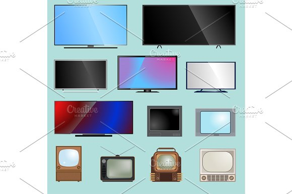 TV Screen Lcd Monitor Template Vector Illustration Electronic Device Tv-screen Infographic Technology Digital Device Television And Computers LED Screen Size Diagonal Display Screen Monitor