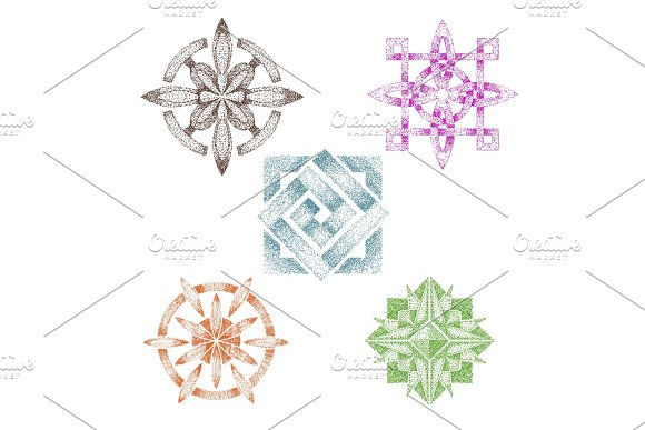 Dot Work Vector Dotted Geometric Shape Or Abstract Flower With Tone And Graphic Decor Drawing In Point Illustration Set Of Dotwork Art Isolated On White Background