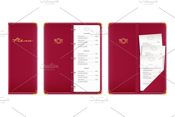 Red Covered Menu Book