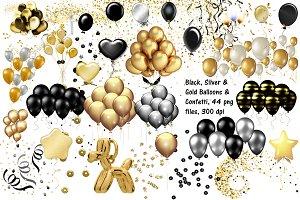 Gold, Black,Silver Balloons Confetti