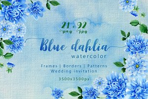 Blue dahlia great flowers PNG set