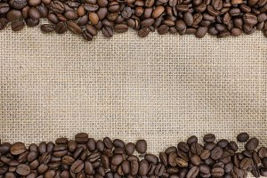 coffee bean on a  burlap sack