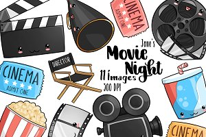 Kawaii Movie Night Clipart