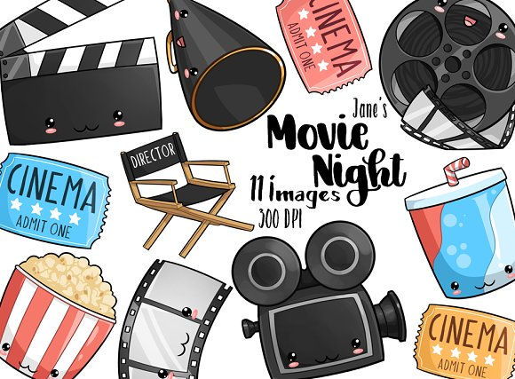 Kawaii Movie Night Clipart