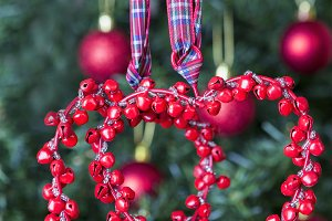 Christmas decoration-two red hearts