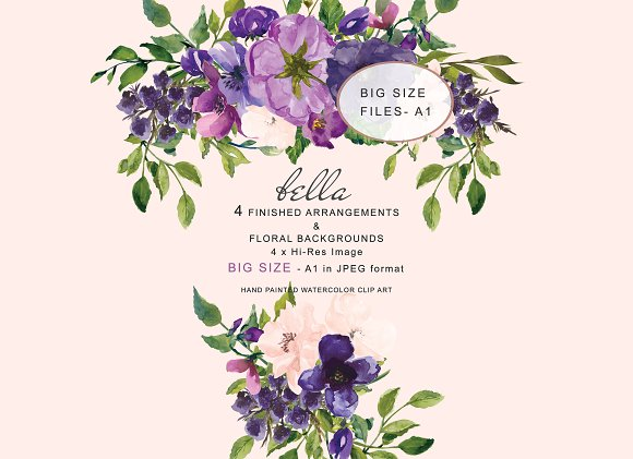 Watercolor Purple And Blush Florals