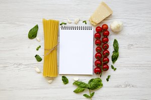 Notebook with ingredients
