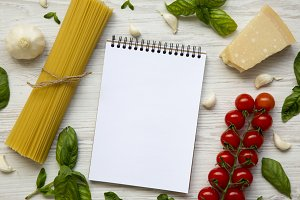 Ingredients for cooking pasta with