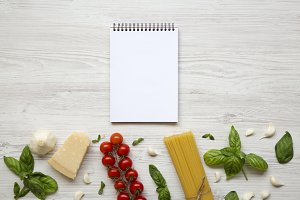 Notebook with ingredients for