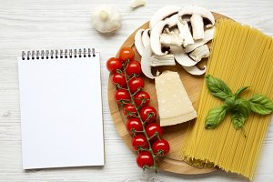 Ingredients for cooking pasta and