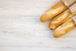 French baguettes in paper bags