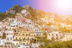 Beautiful colorful cityscape on the mountains over sea, Europe, traditional Italian architecture. Amalfi Coast - architectural and travel background