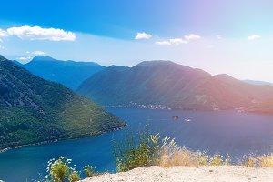 Panoramic view of Coastline of the Boka-Kotor Bay, Montenegro