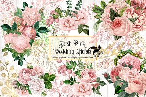 Blush Pink Wedding Floral Clipart