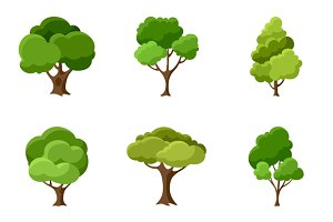 Set of abstract stylized trees.