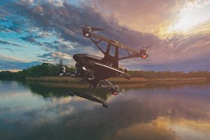 A drone flying over lake at sunset