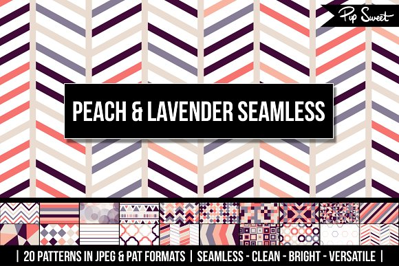 20 Peach Lavender Seamless Patterns