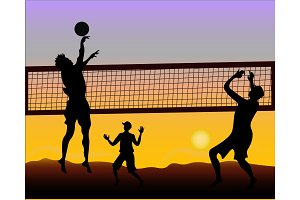 Beach volleyball players at sunset - silhouette