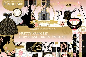 Princess Black Gold Clipart+Pattern