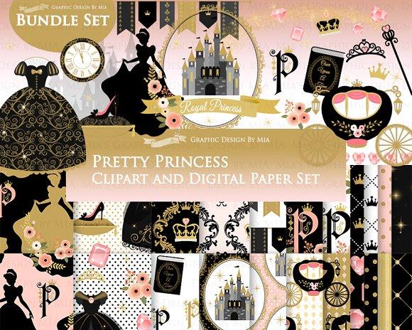 Princess Black Gold Clipart Pattern