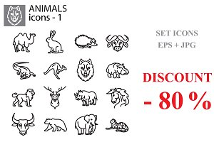 Web icons set - Wild animals black