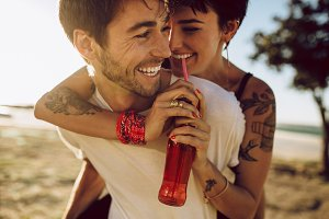 Couple enjoying themselves outdoors
