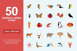 Flat Icons Animals, Birds & Insects