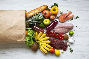 Paper bag of healthy products
