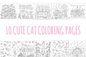 10 Cute cats coloring pages