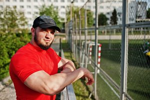 brutal bearded muscular man