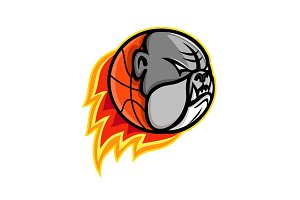 Bulldog Blazing Basketball Mascot